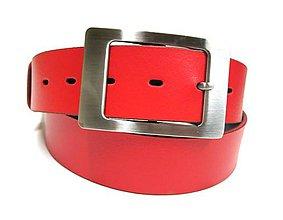 Opasky - Červený kožený dámsky opasok - 4525290_