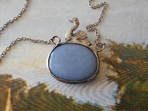 Labuť-šperk tiffany -angelit