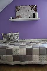 Úžitkový textil - prehoz na posteľ patchwork deka 140x200 alebo 220x220 smotanovo - bežová - 4531957_