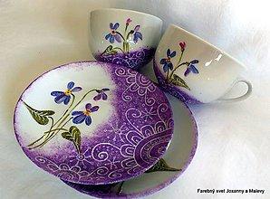 Nádoby - porcelánové šálky Fialky - 4532356_