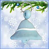 Dekorácie - Vianočný zvonček - modrý - 4530734_