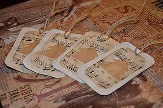 Papier - Vianočné vintage visačky - sada 4 ks - 4537283_
