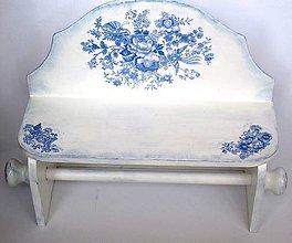 Nábytok - Polička s modrými kvietkami - 4536030_