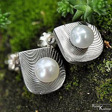 Náušnice - Kované damasteel naušnice a perly - Raníčky - 4533980_