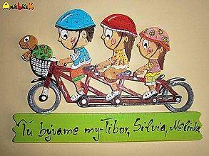 Tabuľky - Menovka - rodinka na bicykli - 4534647_