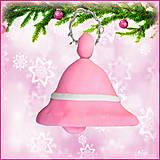 Dekorácie - Vianočný zvonček - ružový - 4535169_