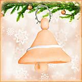 Dekorácie - Vianočný zvonček - oranžový - 4536976_