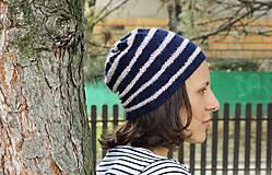 Čiapky - Pletená čiapka- tmavomodrá a rúžová - 4538818_