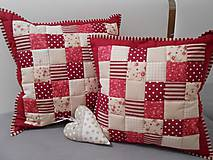 Úžitkový textil - patchwork obliečka 40x40 cm bordovo červená - smotanovo béžová - 4540935_