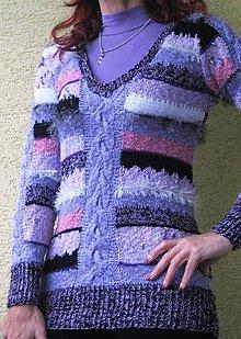 Svetre/Pulóvre - AKCIA fialový pestrý pulóver - 4545495_