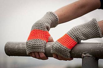 Rukavice - Prúžkované oranžovo šedé rukavice - 4541703_