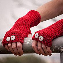 Rukavice - Červené rukavice bez prstov - 4541709_