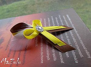 Pierka - žltohnedé svadobné pierko s perím - 4543877_