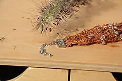 Náramky - Háčkovaný náramek s korálky-hnědý - 4544442_