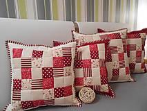 patchwork obliečka 40x40 cm smotanovo béžová bodovo červená