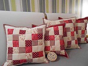 Úžitkový textil - patchwork obliečka 40x40 cm smotanovo béžová bodovo červená  - 4549879_