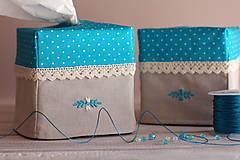 Krabičky - Vreckovky v tyrkysovej - 4547395_