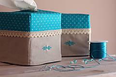 Krabičky - Vreckovky v tyrkysovej - 4547399_