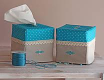Krabičky - Vreckovky v tyrkysovej - 4547401_