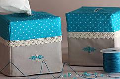 Krabičky - Vreckovky v tyrkysovej - 4547402_