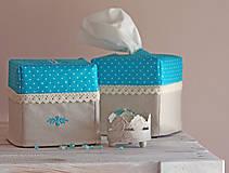 Krabičky - Vreckovky v tyrkysovej - 4547412_