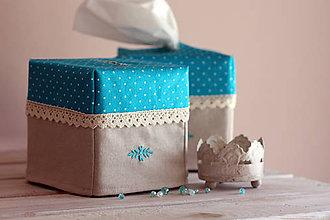 Krabičky - Vreckovky v tyrkysovej - 4547413_