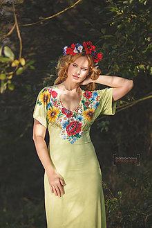 Šaty - Dlhé limetkové šaty s maľbou Folk - 4548982_