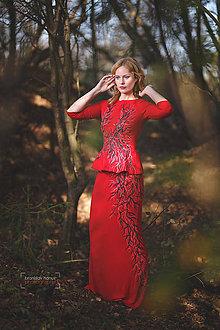 Šaty - Červený maľovaný top so sukňou... - 4549099_