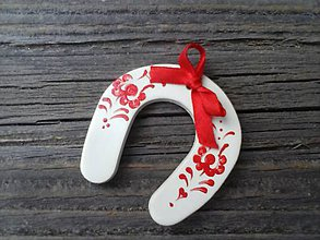 Dekorácie - podkova s ľudovým ornamentom - 4551902_