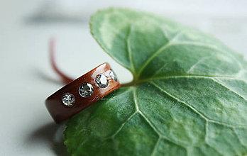 Prstene - Drevený prsteň Zirkonia - 4553848  b802e0129b8