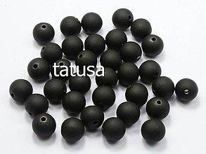 Korálky - Korálky - plastové neón 8mm čierne 20 ks - 4555959_
