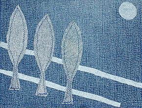 Úžitkový textil - Topole - riflový obraz - 4556847_