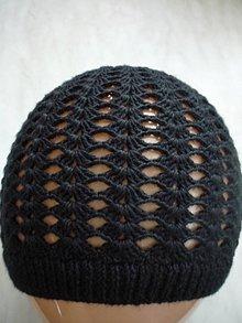 Čiapky - háčkovaná čiapka čierna - 4556041_