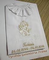 Detské oblečenie - Košieľka na krst K34 bielo-zlatá - 4555394_