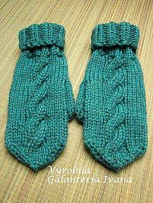 Rukavice - Dve klasické pletené rukavice tyrkysové s vypleteným vzorom - 4558345_