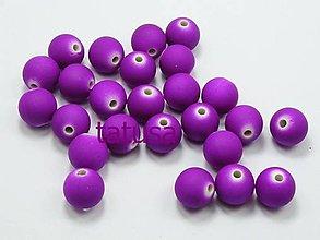 Korálky - Korálky - plastové neón 8mm - purple 20ks - 4566792_