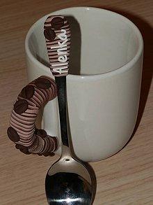 Nádoby - Sada hrnček s lyžičkou s kávovým motívom - 4563224_