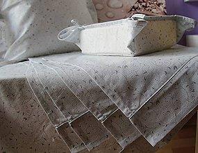 Úžitkový textil - prestieranie do kuchyne sada 4ks  bielo-strieborná - 4571582_