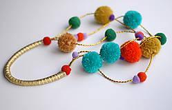Náhrdelníky - Bambulkový náhrdelník kratší  - 4572060_
