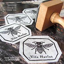 Drobnosti - Včielka, pečiatka 4x4 cm - 4575640_