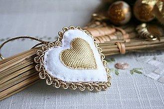 Dekorácie - Bielo-zlaté srdiečko - 4580304_