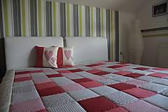 Úžitkový textil - prehoz na posteľ patchwork deka 140x200 alebo 220x220 červeno - smotanovo - béžová - 4579747_