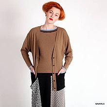 Svetre/Pulóvre - kabátek SIVAN-propínací, trojbarevný s kapsami - 4578904_