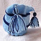 Detské čiapky - ZĽAVA z 8e - Modrá pruhovaná čiapka s brmbolcami - 4580011_