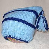 Detské čiapky - ZĽAVA z 8e - Modrá pruhovaná čiapka s brmbolcami - 4580012_