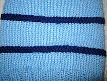 Detské čiapky - ZĽAVA z 8e - Modrá pruhovaná čiapka s brmbolcami - 4580014_
