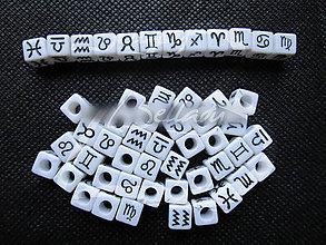 Korálky - PIS5524, Akryl KORÁLKY Znamenie Ryby Kocky ČiernoBIELA /1ks - 4580859_