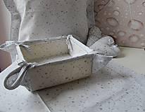 Úžitkový textil - košík na pečivo - snehovo biela - strieborný vzor - 4585416_