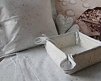 Úžitkový textil - košík na pečivo - snehovo biela - strieborný vzor - 4585417_