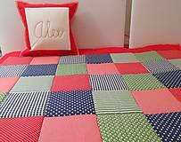 Úžitkový textil - prehoz na posteľ patchwork deka červeno-modro-zelená - 4586459_